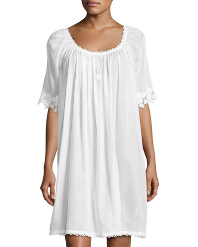 Margitta 3/4-Sleeve Babydoll Nightgown, White
