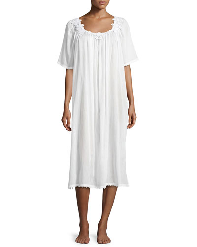 Margitta Long Cotton Nightgown, White