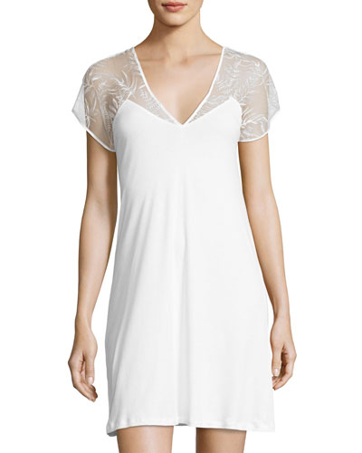 Ana Cotton Lace-Yoke Nightgown, White