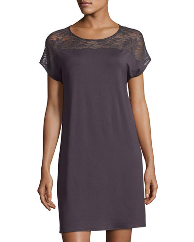 Greta Cap-Sleeve Nightgown, Brown