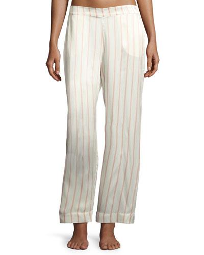 Striped Silk-Satin Pajama Pants, Pink Pattern
