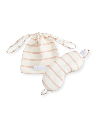 Striped Silk Eye Mask, Pink Pattern
