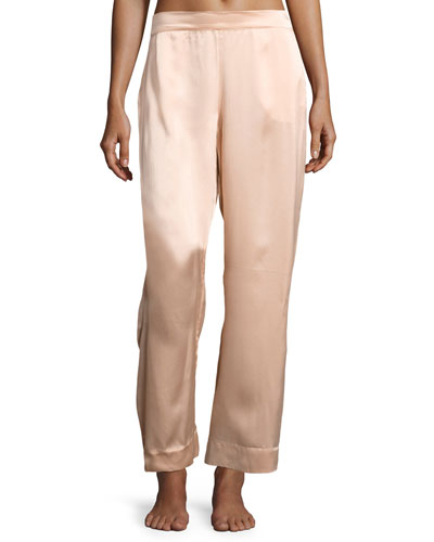 Modern Silk-Satin Pajama Pants, Light Pink