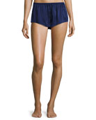 Silk-Satin Pajama Shorts, Navy