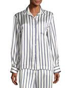 Striped Silk-Satin Pajama Top, Blue Pattern