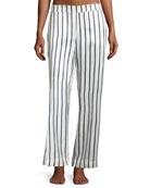 Striped Silk-Satin Pajama Pants, Blue Pattern