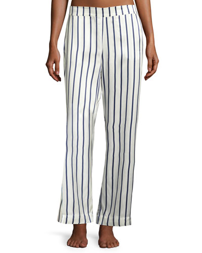 Striped Silk-Satin Pajama Pants, Blue Pattern