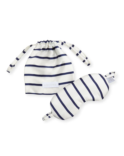 Striped Silk Eye Mask, Blue Pattern