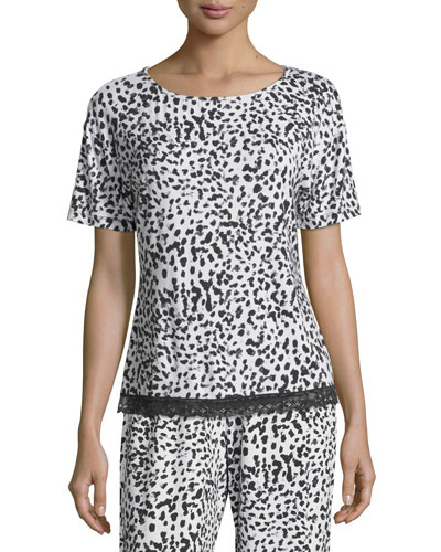 Majestic Print Lounge Top, Leopard