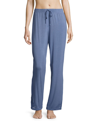 Lace-Trim Jersey Lounge Pants, Blue