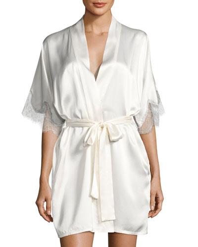 Midsummer Silk Short Robe, White