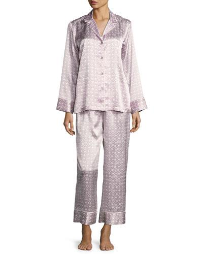 Geometric-Print Satin Pajama Set, Purple Pattern