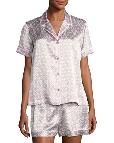 Geometric-Print Short Silk Pajama Set, Purple Pattern