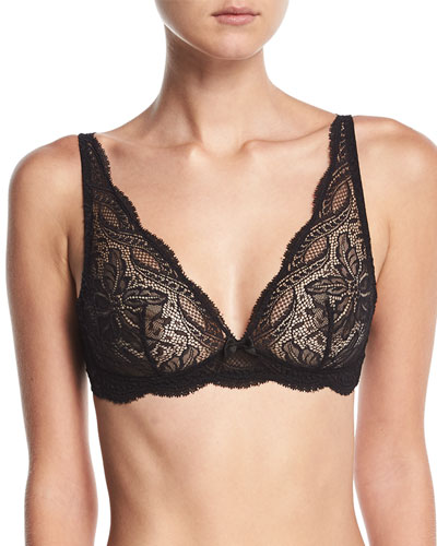 Eden Floral-Lace Triangle Wire-Free Soft Bra, White