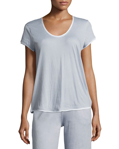Organic Cotton Short-Sleeve Lounge Tee, Light Blue