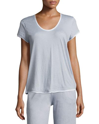 Organic Cotton Short-Sleeve Lounge Tee, Light Blue