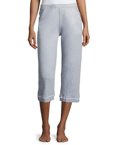 Organic Cotton Lounge Crop Pants, Light Blue