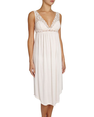 Kiss the Bride Lace-Trimmed Nightgown, Light Pink