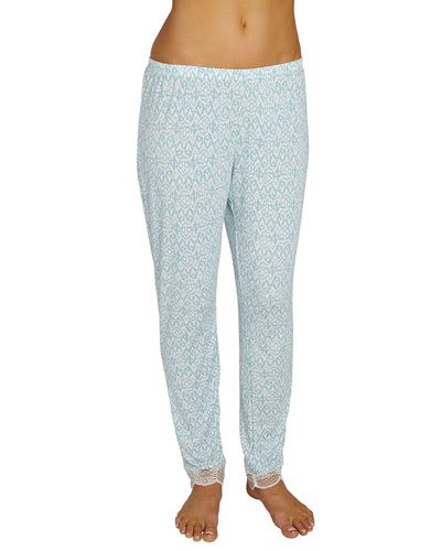 Tesoro Slim-Leg Lounge Pants, Blue Pattern