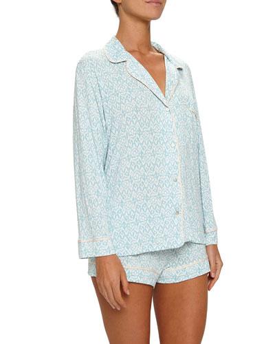 Tesoro Long-Sleeve Shortie Pajama Set, Blue Pattern