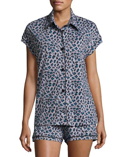 Bella Printed Cap-Sleeve Pajama Set