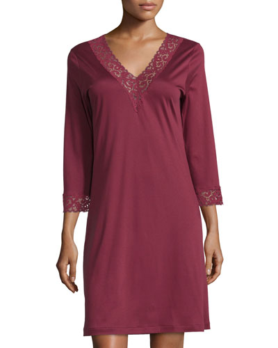 Moments Lace-Trim Sleepshirt, Red Plum