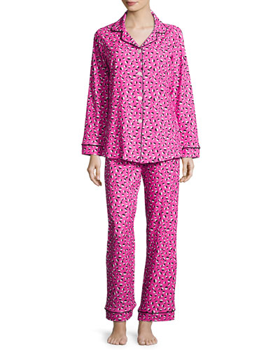 Demi-Ball Dotted Classic Pajama Set, Fuchsia/Black