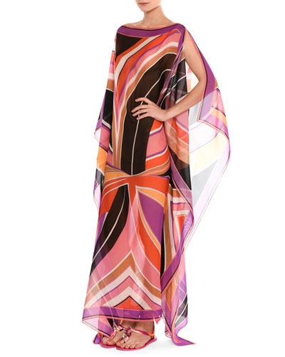 Stella Silk Boat-Neck Caftan Maxi Dress, Purple/Pink