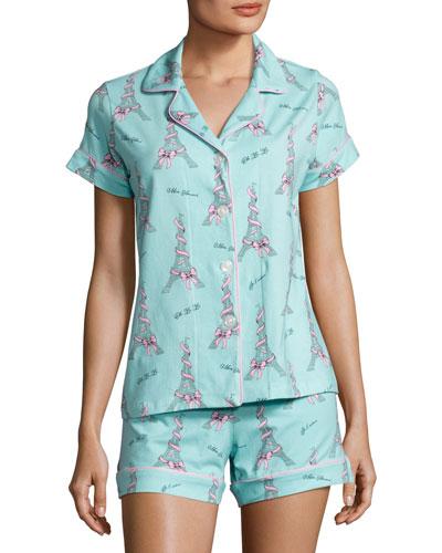 French Bow Shorty Pajama Set, Light Blue