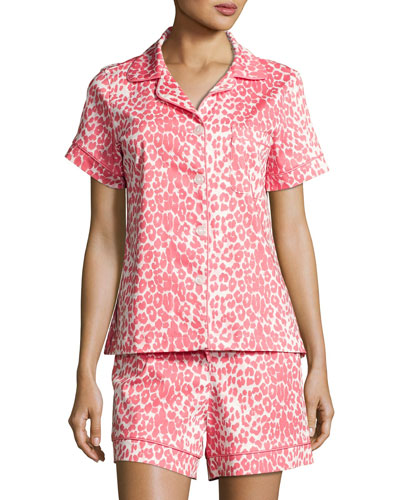 Wild Thing Shortie Pajama Set, Coral/Ivory