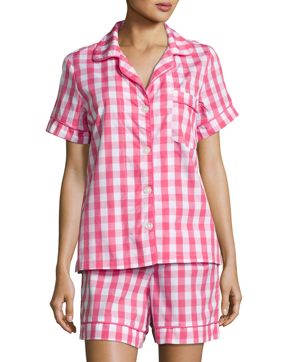 Gingham Shorty Pajama Set, Hot Pink