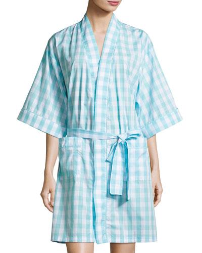 Gingham Short Kimono Robe, Aqua