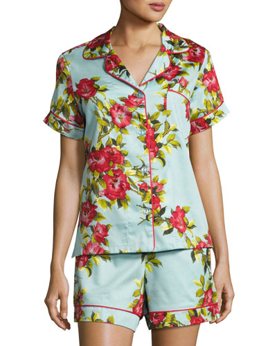 Hibiscus Floral-print Shorty Pajama Set, Light Blue, Plus Size