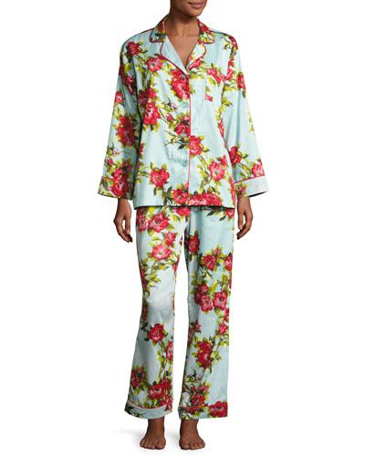 Hibiscus Classic Pajama Set, Light Blue, Plus Size