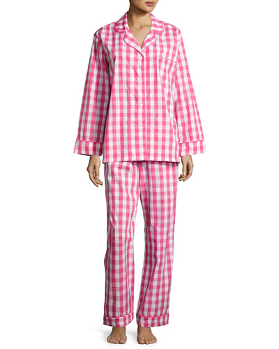 Gingham Classic Pajama Set, Hot Pink