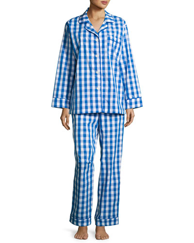 Gingham-Print Pajama Set, Navy, Plus Size