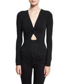 Twist-Front Long-Sleeve Jersey Bodysuit, Black