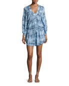 Rustic Lara Swim Coverup Caftan Dress, Blue
