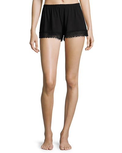 Minoa Lace-Trim Sleep Shorts, Black