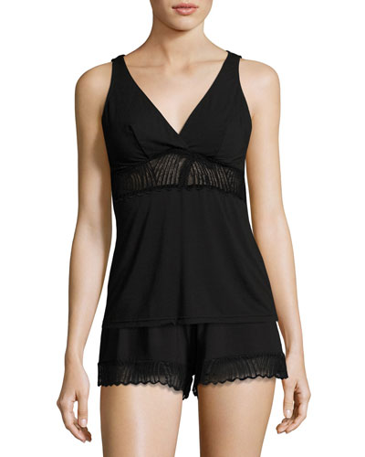 Minoa Lace-Trim Sleep Camisole, Black