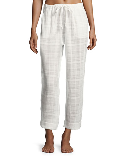 Cotton Dobby Crop Lounge Pants, White