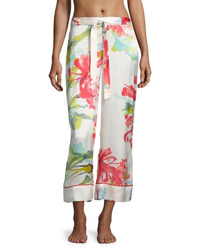 Tropics Watercolor Silk Lounge Pants, Multicolor