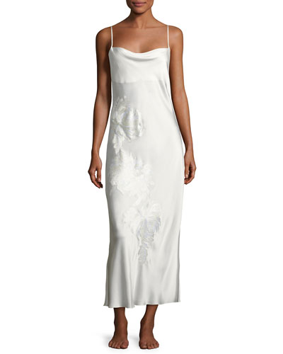 Delphine Floral-Embroidered Silk Night Gown, White