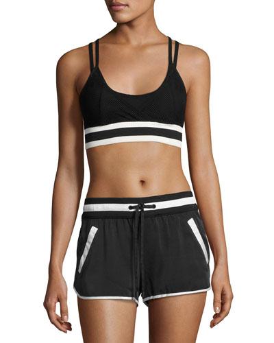 Ballet Wrap Sports Bra Top, Black