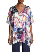 Blossom Silk Tunic Top, Multi Pattern