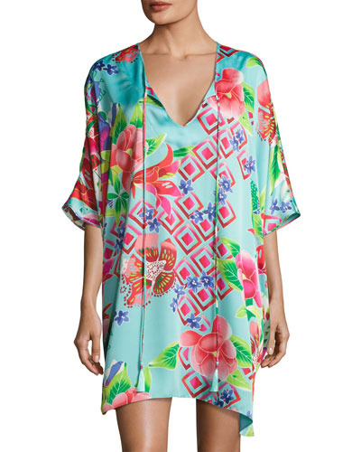 Star Blossom Short Caftan Dress, Blue