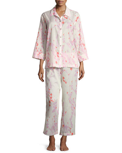 Orchid Spray Cotton Pajama Set, Cream