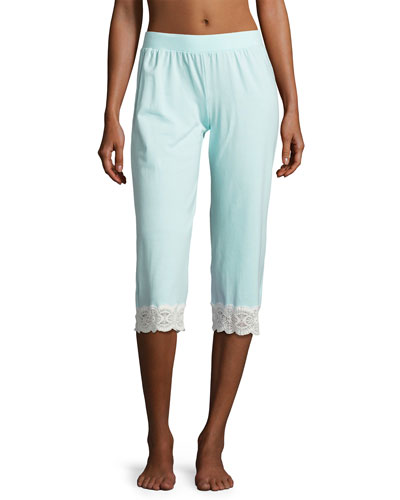 Sonia Crop Lace-Trim Lounge Pants, Blue/White