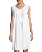 Clarita Sleeveless Nightgown, White/Blue