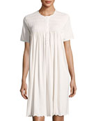 Babs Short-Sleeve Smocked Nightgown, White/Pink